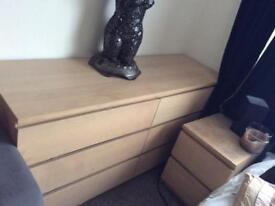 chest of drawers + 2 bedside cabinets