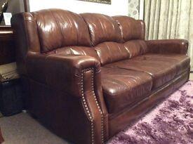 Large Italian dark brown genuine leather suite for sale