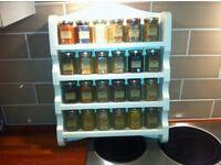wooden spice rack wall mount for display 24 spice bottles. cafe, restaurant?.