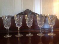 5 Tyrone Crystal wine glasses. ANTRIM pattern