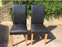 Dining Chairs ,Oak With Dark Chocolate Faux Leather