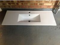 Ceramic bathroom vanity unit top, as new, fits 1000mm base unit