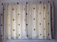 Curtains x 2 pairs – Cream with small brown suede squares & Sandown & Bourne Vertical blind