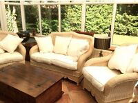 Gorgeous Conservatory Suite (Sofa and two chairs) in Wicker/Cane. High Quality,Very Sturdy
