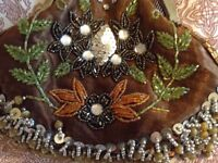 Vintage brown bead and sequin clutch bag.