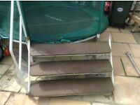 Caravan double steps with hand rail