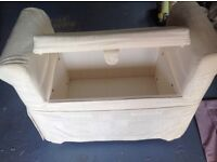 Cream seat bedding box, material covered bedroom seat with storage