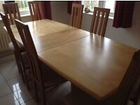 Solid beech dining table and 8 chairs - matching sideboard optional