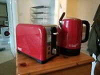 Russell Hobbs Red kettle and toaster set