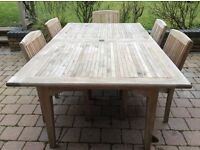 Large Teak Extending Table with 6 Matching Chairs