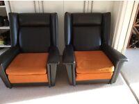 2 x beautiful mid century original retro wing back chairs - like g plan, ercol, Parker knoll