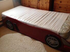 Boys car single bed with mattress
