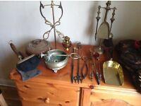 Antique fire irons, various bronze, brass and silverware