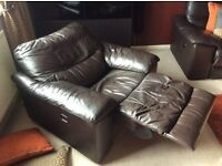 Leather Sofa (brown) Electric Recliner, 1 seater