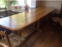 "Oak refectory table and chairs 9'2"" X 2'8"". Plus othe sets available."