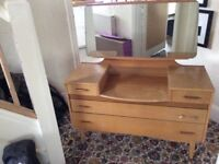 Classic dressing table with 2 large drawers and 2 small drawers and a very good sized mirror.