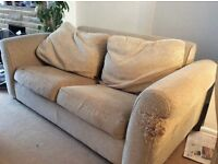 Sofa Bed. 2m wide, 1m deep. Beige. Pull out mechanism, wooden slats and sprung mattress