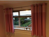 Pink blackout curtains. 66 x 54 drop, good condition