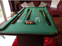 6 foot by 3 foot snooker table Complete with instructions and accessorise