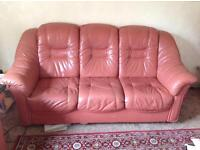 3 seater Italian leather sofa and 2 armchairs