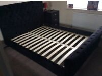 Limelight Orbit Black Velvet King Size Bed Frame