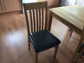 Oak dining table x 4 chairs and side unit