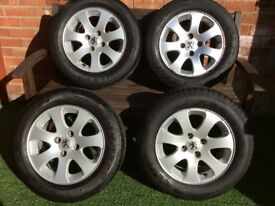 """4x15"""" Alloy wheels and tyres suit Peugeot"""