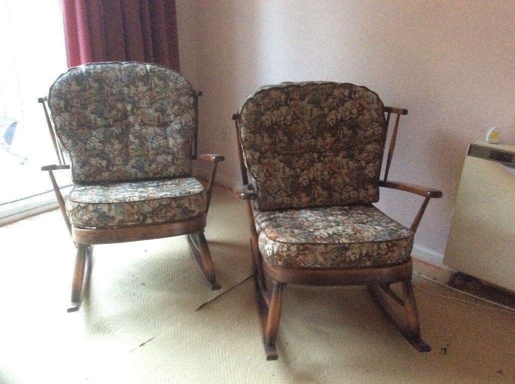 a pair of errol type rocking chairs believeqd to be in elm original