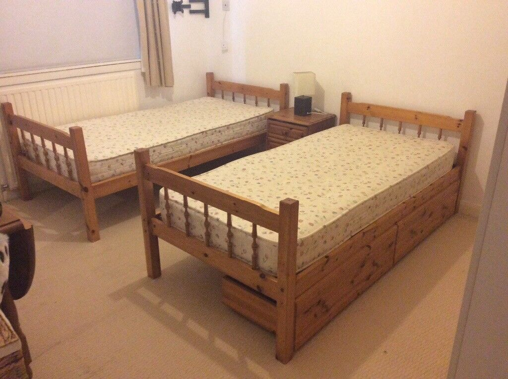 Two pine single beds for sale