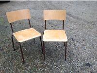 Pair of 1970's vintage school chairs