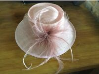 Wedding Hat, pink with feathers, excellent condition, worn once.