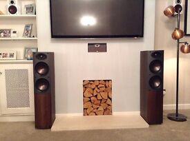 Premium Mordaunt Short floor standing speakers - dark walnut