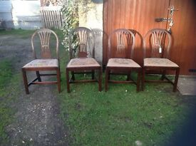 Antique mahogany dining chairs with tapestry seat pads, would look lovely painted
