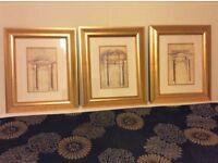 3 Gold Framed Prints by Hutton Fine Art Glasgow