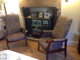 Pair cintique fireside chairs,