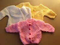 SET OF 3 KNITTED BABY CARDIGANS 0-3 MONTHS