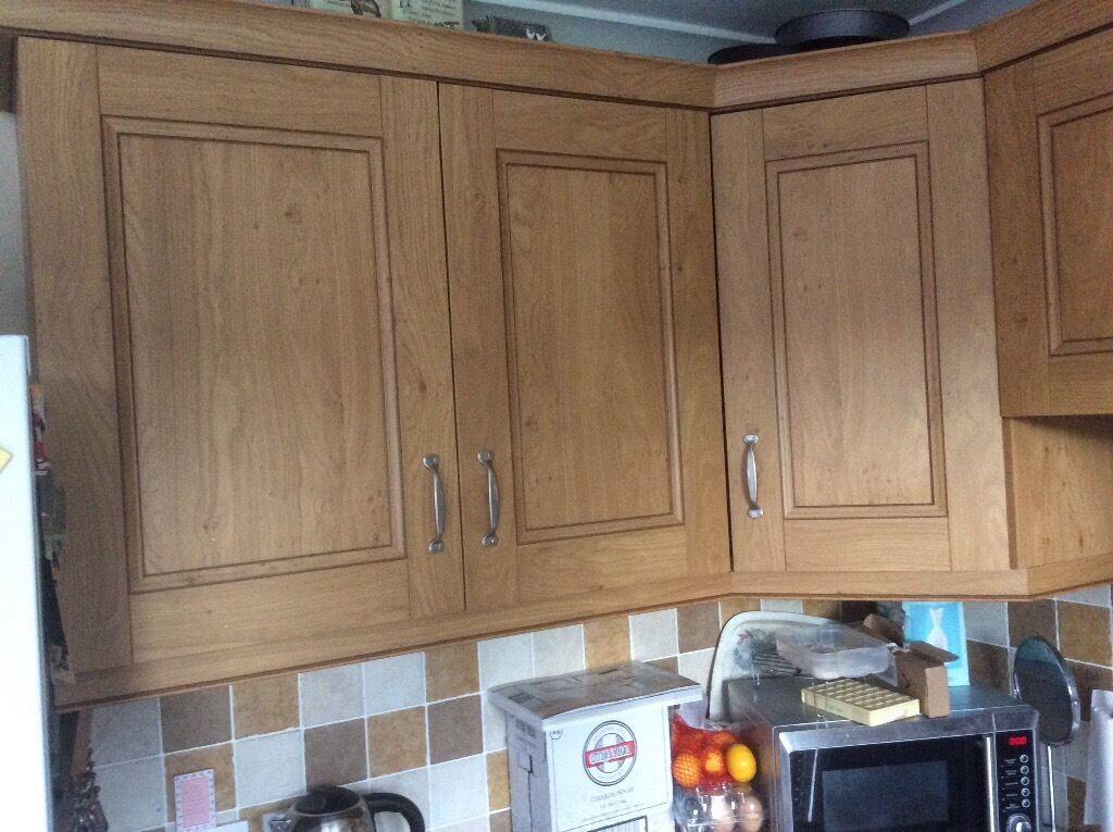 Oak effect kitchen units
