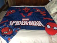Spiderman fleece blanket and matching reversible cushion