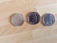 3 No: Beatrix Potter 50p Coins - 2017