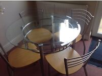 John Lewis glass round table and 4 chairs