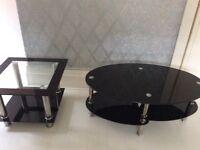 Black glass coffee table 2 tier *2