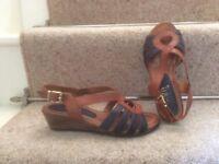 Ladies Pavers navy/tan wedge heel sandals size 3.