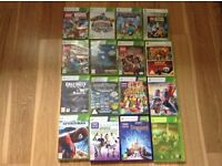 Xbox360 with 18 games and skylander figures
