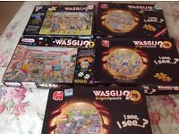 Wasgij jigsaw puzzles. 5 in total. 1,000 pieces each.