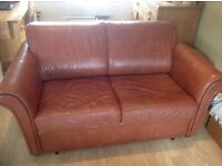 2 seater tan leather sofabed