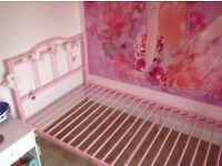 Girls pink single bed metal Excellent condition
