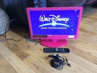 "Logik 19""HD LED pink tv with digital freeview and dvd combi"