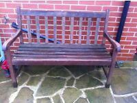 Two wood garden benches
