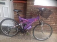 Ladies 18 Speed Mountain Bike with Basket and Lights