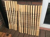 18 Wooden Pine Spindles/ Balusters.